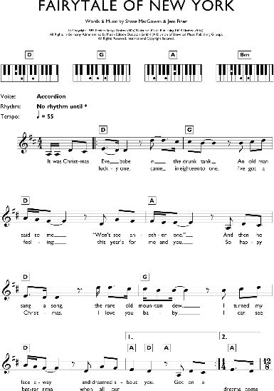 Fairytale of new york piano sheet music easy