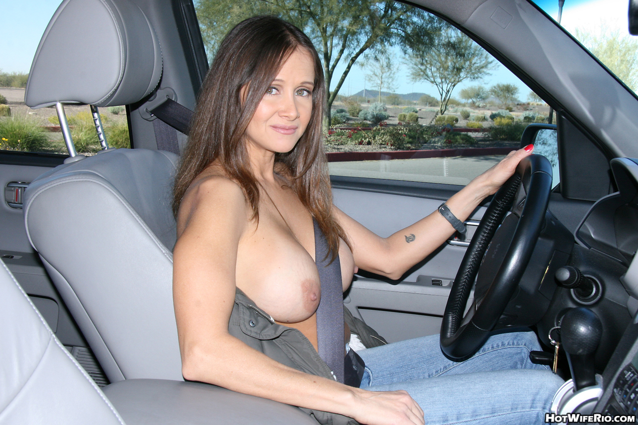 Wife driving topless